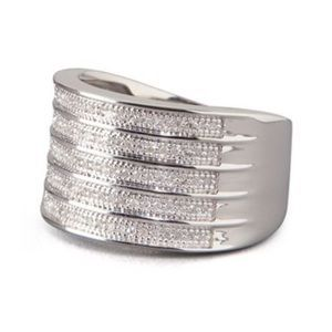 NEW Sterling Multi Row Diamond Ring